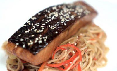 Teriyaki Salmon with Stir fry Udon